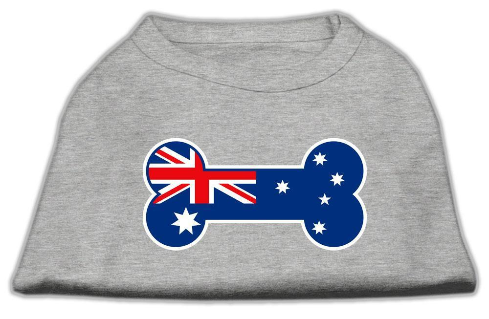 Bone Shaped Australian Flag Screen Print Shirts Grey-Dog Clothing-Bella's PetStor