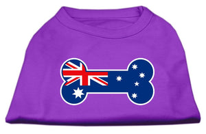 Bone Shaped Australian Flag Screen Print Shirts Purple-Dog Clothing-Bella's PetStor