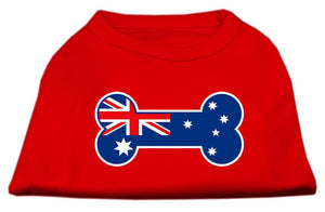 Bone Shaped Australian Flag Screen Print Shirts Red-Dog Clothing-Bella's PetStor