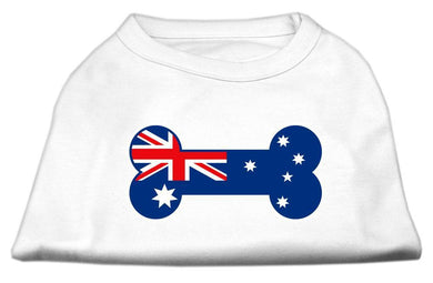 Bone Shaped Australian Flag Screen Print Shirts White-Dog Clothing-Bella's PetStor