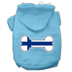 Bone Shaped Finland Flag Screen Print Pet Hoodies-Dog Clothing-Bella's PetStor