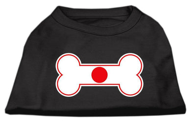 Bone Shaped Japan Flag Screen Print Shirts Black-Dog Clothing-Bella's PetStor