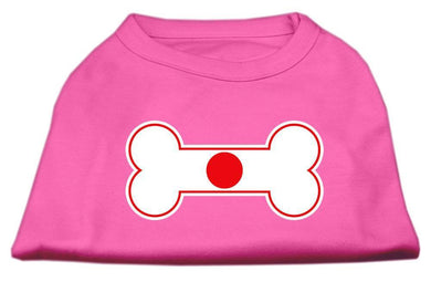 Bone Shaped Japan Flag Screen Print Shirts Bright Pink-Dog Clothing-Bella's PetStor