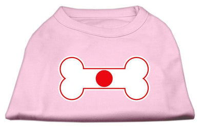 Bone Shaped Japan Flag Screen Print Shirts Light Pink-Dog Clothing-Bella's PetStor