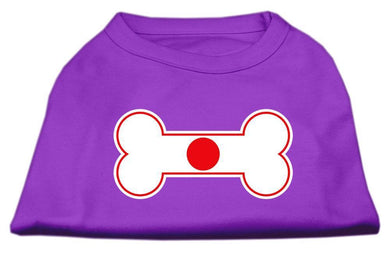 Bone Shaped Japan Flag Screen Print Shirts Purple-Dog Clothing-Bella's PetStor