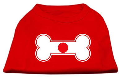 Bone Shaped Japan Flag Screen Print Shirts Red-Dog Clothing-Bella's PetStor