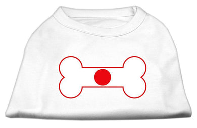 Bone Shaped Japan Flag Screen Print Shirts White-Dog Clothing-Bella's PetStor