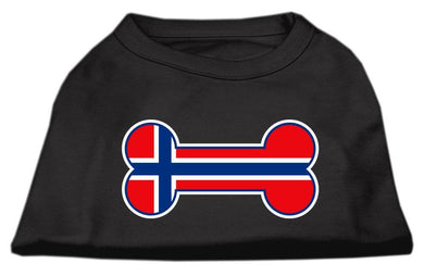 Bone Shaped Norway Flag Screen Print Shirts Black-Dog Clothing-Bella's PetStor