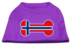 Bone Shaped Norway Flag Screen Print Shirts Purple-Dog Clothing-Bella's PetStor