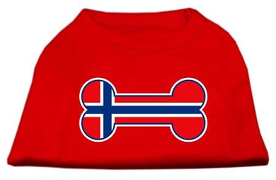 Bone Shaped Norway Flag Screen Print Shirts Red-Dog Clothing-Bella's PetStor