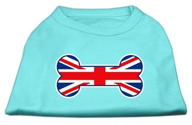 Bone Shaped United Kingdom (union Jack) Flag Screen Print Shirts Aqua-Dog Clothing-Bella's PetStor