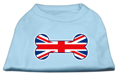 Bone Shaped United Kingdom (union Jack) Flag Screen Print Shirts Baby Blue-Dog Clothing-Bella's PetStor