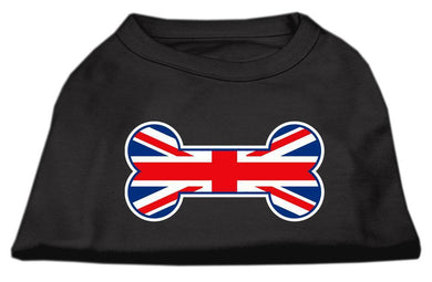 Bone Shaped United Kingdom (union Jack) Flag Screen Print Shirts Black-Dog Clothing-Bella's PetStor