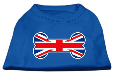 Bone Shaped United Kingdom (union Jack) Flag Screen Print Shirts Blue-Dog Clothing-Bella's PetStor