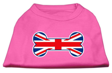 Bone Shaped United Kingdom (union Jack) Flag Screen Print Shirts Bright Pink-Dog Clothing-Bella's PetStor
