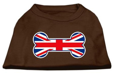 Bone Shaped United Kingdom (union Jack) Flag Screen Print Shirts Brown-Dog Clothing-Bella's PetStor