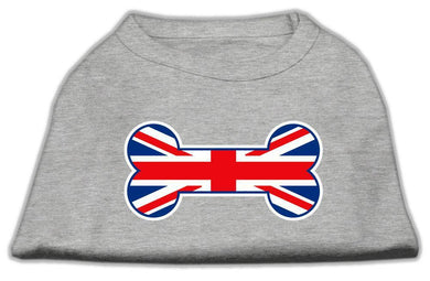 Bone Shaped United Kingdom (union Jack) Flag Screen Print Shirts Grey-Dog Clothing-Bella's PetStor