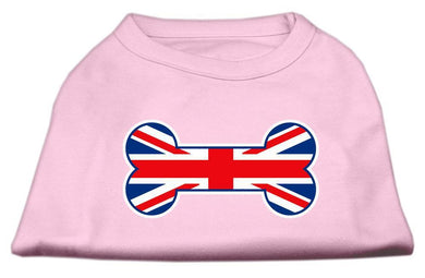 Bone Shaped United Kingdom (union Jack) Flag Screen Print Shirts Light Pink-Dog Clothing-Bella's PetStor