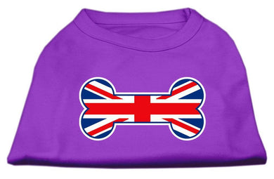 Bone Shaped United Kingdom (union Jack) Flag Screen Print Shirts Purple-Dog Clothing-Bella's PetStor