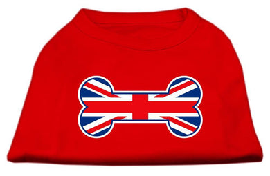 Bone Shaped United Kingdom (union Jack) Flag Screen Print Shirts Red-Dog Clothing-Bella's PetStor