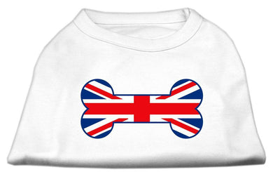 Bone Shaped United Kingdom (union Jack) Flag Screen Print Shirts White-Dog Clothing-Bella's PetStor