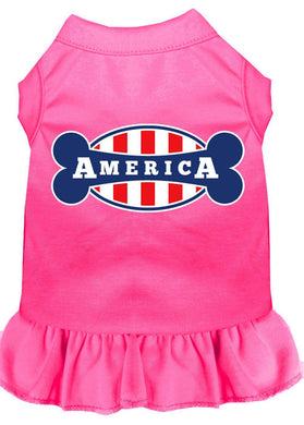 Bonely In America Screen Print Dress Bright Pink-Dog Clothing-Bella's PetStor