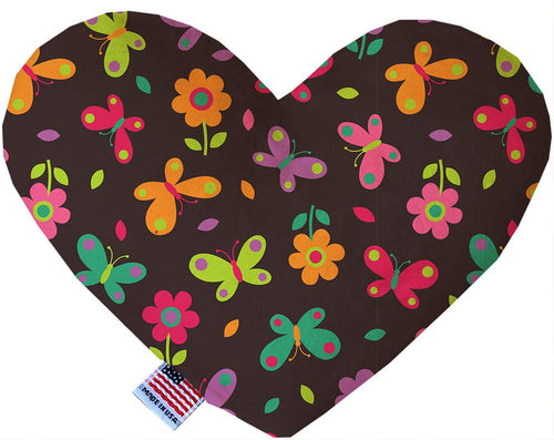 Butterflies In Brown Inch Canvas Heart Dog Toy-Made in the USA-Bella's PetStor