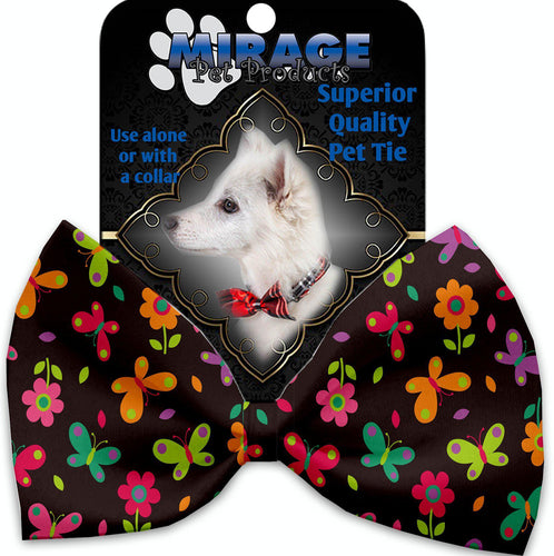 Butterflies In Brown Pet Bow Tie Collar Accessory With Velcro-Bow Ties-Bella's PetStor
