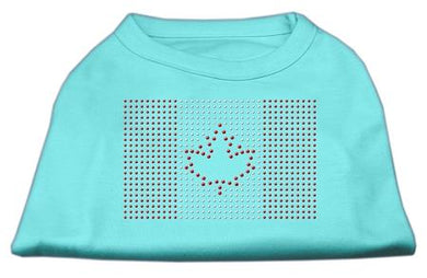 Canadian Flag Rhinestone Shirts Aqua-Dog Clothing-Bella's PetStor