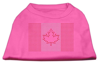 Canadian Flag Rhinestone Shirts Bright Pink-Dog Clothing-Bella's PetStor