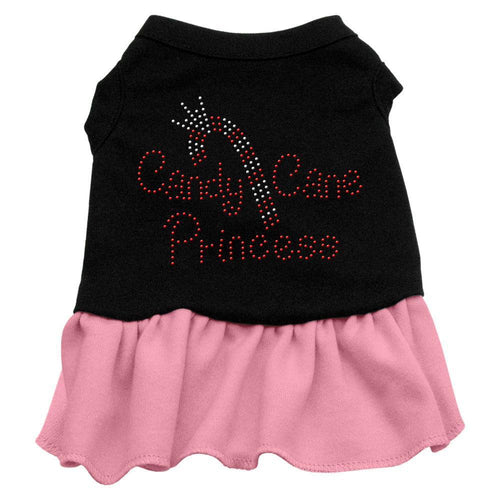 Candy Cane Princess Rhinestone Dress Black With-Christmas, Hannakuh-Bella's PetStor