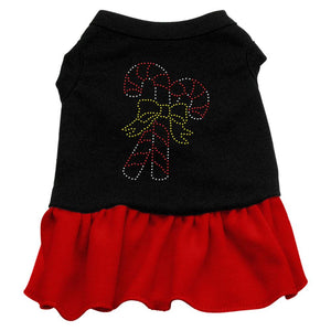 Candy Canes Rhinestone Dress Black With-Christmas, Hannakuh-Bella's PetStor