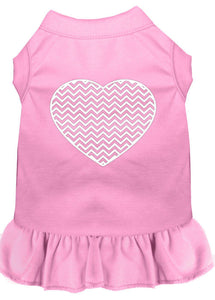 Chevron Heart Screen Print Dress Light Pink-Dog Clothing-Bella's PetStor