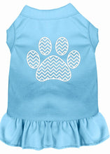 Load image into Gallery viewer, Chevron Paw Screen Print Dress Baby Blue-Dog Clothing-Bella's PetStor