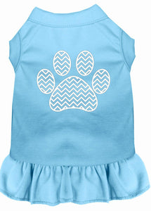 Chevron Paw Screen Print Dress Baby Blue-Dog Clothing-Bella's PetStor