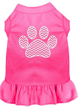 Load image into Gallery viewer, Chevron Paw Screen Print Dress Bright Pink-Dog Clothing-Bella's PetStor