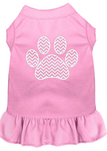 Load image into Gallery viewer, Chevron Paw Screen Print Dress Light Pink-Dog Clothing-Bella's PetStor