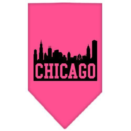 Chicago Skyline Screen Print Bandana Bright Pink Large-Chicago skyline screen print bandana new pet products-Bella's PetStor