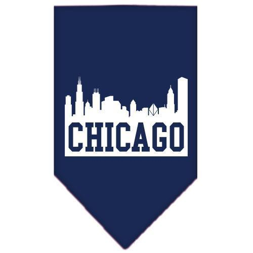 Chicago Skyline Screen Print Bandana Navy Blue Small-Chicago skyline screen print bandana new pet products-Bella's PetStor