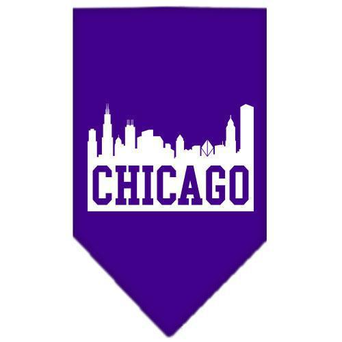 Chicago Skyline Screen Print Bandana Purple Small-Chicago skyline screen print bandana-Bella's PetStor