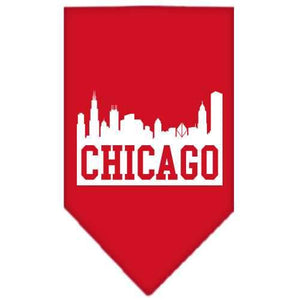 Chicago Skyline Screen Print Bandana Red Small-Chicago skyline screen print bandana new pet products-Bella's PetStor