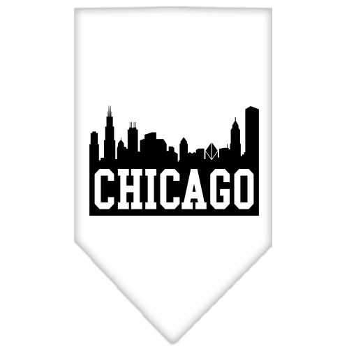 Chicago Skyline Screen Print Bandana White Small-Chicago skyline screen print bandana-Bella's PetStor