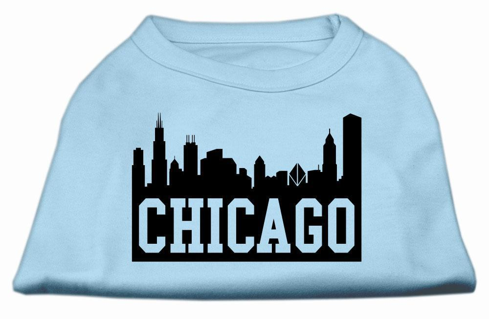 Chicago Skyline Screen Print Shirt Baby Blue-Dog Clothing-Bella's PetStor