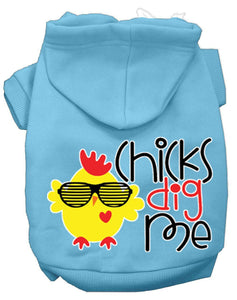Chicks Dig Me Screen Print Dog Hoodie-Dog Clothing-Bella's PetStor