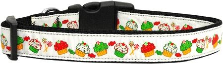 Christmas Cupcakes Nylon Dog Collar Medium Narrow-Dog Collars-Bella's PetStor