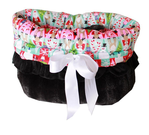 Christmas Medley Reversible Snuggle Bugs Pet Bed, Bag, And Car Seat All-in-one-Christmas, Hannukah-Bella's PetStor