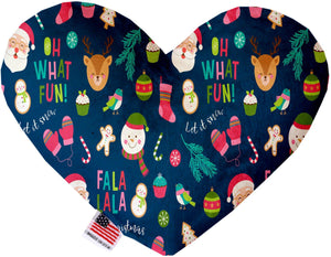 Christmas Party Inch Canvas Heart Dog Toy-Made in the USA-Bella's PetStor