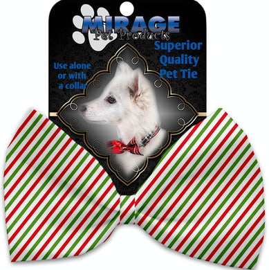 Christmas Pinstripes Pet Bow Tie Collar Accessory With Velcro-Bow Ties-Bella's PetStor