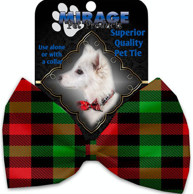 Christmas Plaid Pet Bow Tie Collar Accessory With Velcro-Bow Ties-Bella's PetStor