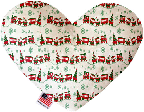 Christmas Trains Inch Canvas Heart Dog Toy-Made in the USA-Bella's PetStor